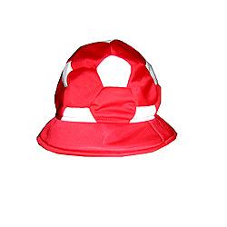 Шапка футболна топка, червено и бяло