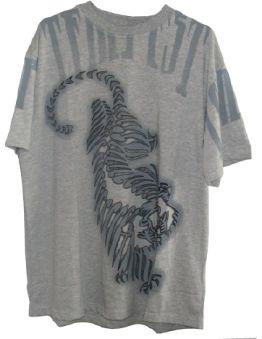 Памучна фланелка Tiger, сиво