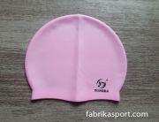 Силиконова шапка за плуване, млечно розова