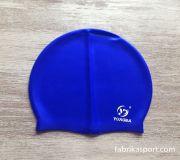 Силиконова шапка за плуване, синя